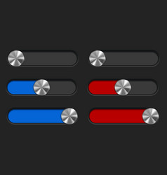 Slider toggle switch blue and red bar interface vector
