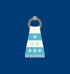 Towel flat icon on blue background vector