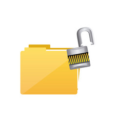 yellow file and open lock icon vector image vector image