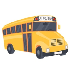 yellow school bus in cartoon style vector image