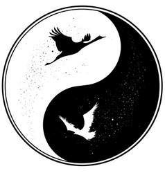 Yin yang witn raven and crane vector