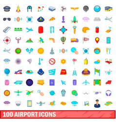 100 airport icons set cartoon style vector