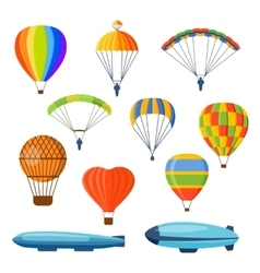 Ballon aerostat transport set vector