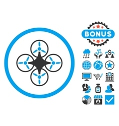 Air drone flat icon with bonus vector