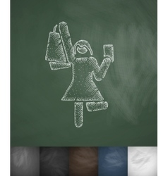 Joyful buyer icon hand drawn vector