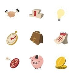 Corporation icons set cartoon style vector image