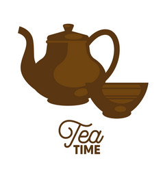 dark tea time set flat and shadow theme close-up vector image