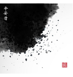 Abstract black ink wash painting in east asian vector
