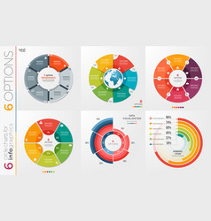 Collection of 6 circle chart templates 6 vector
