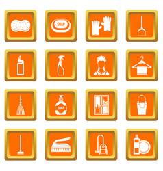 house cleaning icons set orange vector image