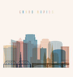 grand rapids state michigan skyline detailed vector image