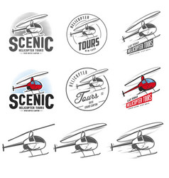 set of helicopter related emblems and labels vector image
