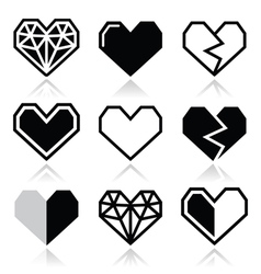 Geometric heart for valentines day icons vector