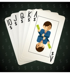 Business royal flush playing cards vector