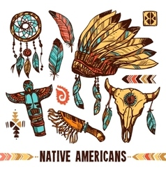 Native americans decorative icon set vector