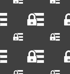 Lock login icon sign seamless pattern on a gray vector