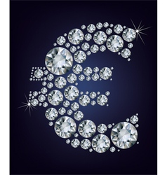 euro symbol in diamonds vector image