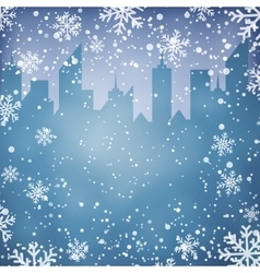 Winter background with city scape silhouette vector