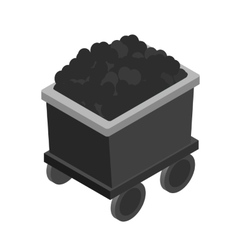 Trolley with coal 3d isometric icon vector