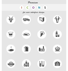 Milk industry icons set vector