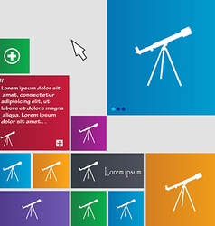 Telescope icon sign buttons modern interface vector
