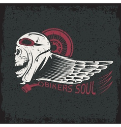 Bikers theme grunge label with skullwheel and wing vector