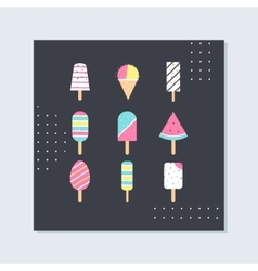 Ice-cream and popsicle on sticks card vector