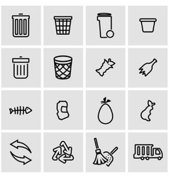 Line garbage icon set vector