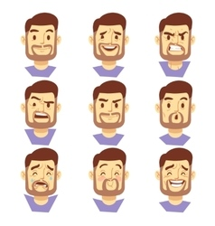 Bearded hipster man character emotions male heads vector
