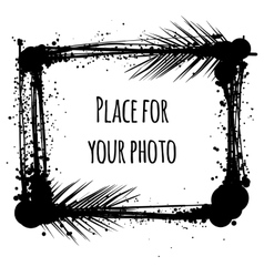 Black ink photo frame with tropical leaves vector image vector image