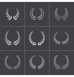 Black laurel wreaths icons set vector