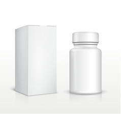 Blank medicine bottle and package box vector image vector image
