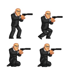 Body guard crouching animation vector
