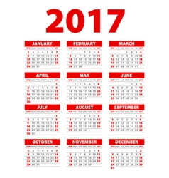 Calendar for 2017 on white background EPS10 red vector image vector image