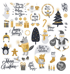 christmas set with cartoon new year characters vector image vector image