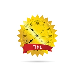 Clock with gold and red vector