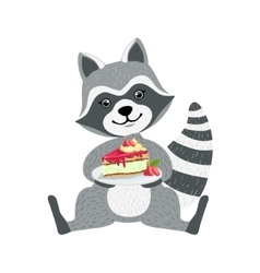 Cute raccoon character sitting with plate piece vector