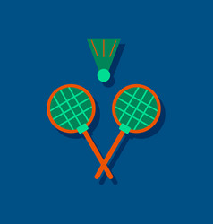 Flat icon design collection kids badminton in vector