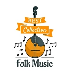 Folk music symbol with ethnic musical instrument vector image vector image