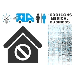 Forbidden Building Icon with 1000 Medical Business vector image vector image