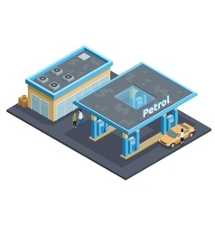 Gas station complex isometric image poster vector