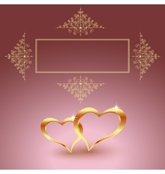 Gold metal heart for Valentine s day Beautiful vector image vector image