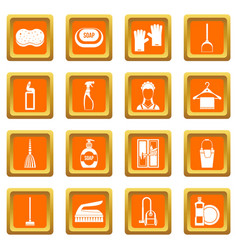 house cleaning icons set orange vector image