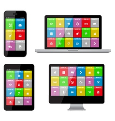 Isolated gadgets with ui and web icons vector image