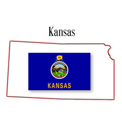 kansas state map and flag vector image vector image