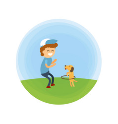 Little boy and puppy walking at park vector