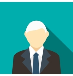 Man with gray hair in a suit icon flat style vector