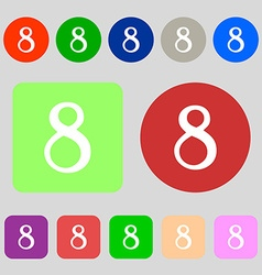 Number eight icon sign 12 colored buttons flat vector