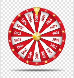 red wheel of fortune isolated on transparent vector image