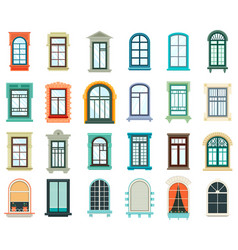 set of plastic and wooden window frames vector image vector image